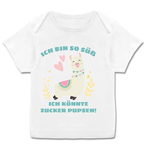 Sprüche Baby - Lama Ich Bin so süß ich könnte Zucker Pupsen - 80-86 (18 Monate) - Weiß - E110B - Kurzarm Baby-Shirt für Jungen und Mädchen -
