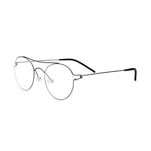 WULE-Sunglasses Unisex Neue schraubenlose Titanlegierung handgemachte Retro Runde Brillengestell Ultra leichte Männer und Frauen dünne Seite Brillengestell