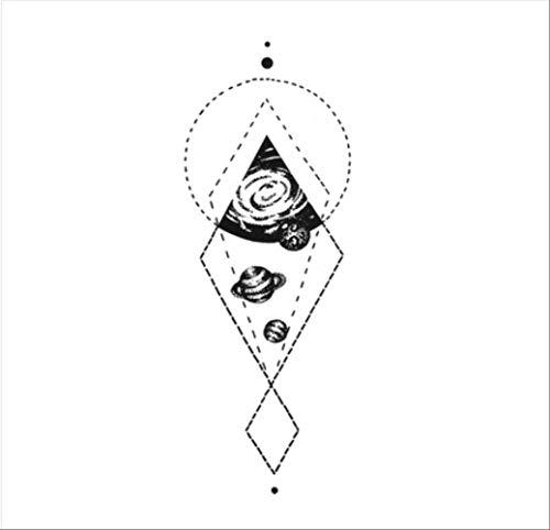 Lnnhjb adesivo per tatuaggi cosmic point geometrico planet impermeabili per uomo e donna. adesivi per tatuaggio linea semplice in bianco e nero