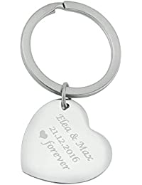 70793033584d Hanessa Porte-clés en acier inoxydable avec gravure personnalisable en  forme de cœur en argent