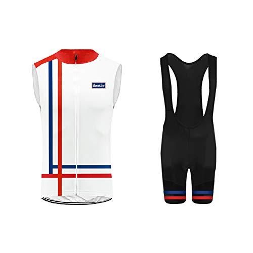 Uglyfrog Bike Wear Racing Team MTB Completo Ciclismo Abbigliamento Set Uomo Estate Senza Maniche Antivento+Bib Pantaloni Cycling Vest Suit Attrezzatura da Ciclismo HI2019VJT08