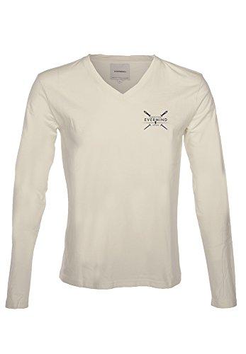 Herren Langarmshirt 100% Bio-Baumwolle GOTS Long Sleeve V-Ausschnitt T-shirt Weiß