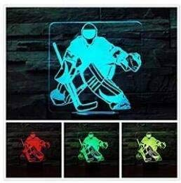 3D eishockey - spieler Optische Illusions-Lampen, Tolle 7 Farbwechsel Acryl berühren Tabelle Schreibtisch-Nachtlicht mit USB-Kabel für Kinder Schlafzimmer Geburtstagsgeschenke Geschenk