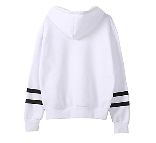 Felpa Donna Pullover Con Cappuccio Elegante Ricamo Fiore Sweatshirt Manica Lunga Casual Taglie Forti Stripe Alunno Sciolto Sweater Felpe Hoody Bianco
