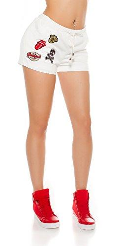 Sportliche Sweat-Shorty mit Aufnähern Weiß