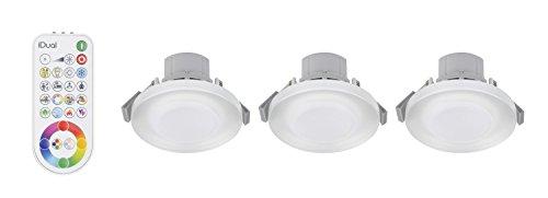 3 iDual-LED-Deckeneinbauleuchten Argon; Warmweiß bis Kaltweiß; Dimmfunktionen; Multicolor-Umgebungs- und Stimmungslicht. - Inkl....