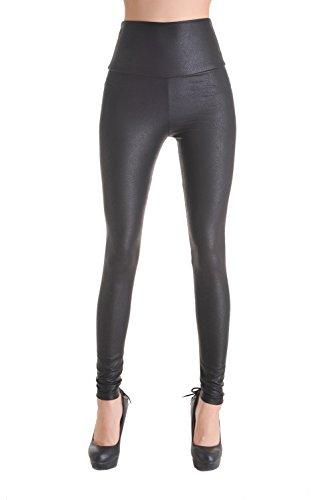 Queenshiny Damen wetlook latexlook Ganzkörper Leggings Hohe Taille Leder Optik (Schwarz Schlangenhaut Muster, l)