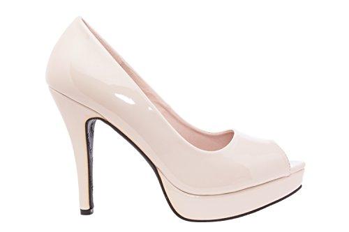 Andres Machado.AM5003.Peep-Toes en Soft.Pour Femmes.Petites et Grandes Pointures de la 32/35-42/45. Charol Beige