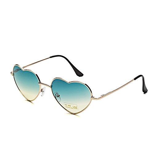 Dollger Herz Sonnenbrille Dünne Metallrahmen Schöne Aviator-Art für Damen(Grün Verlaufsgläser+Goldrahmen)