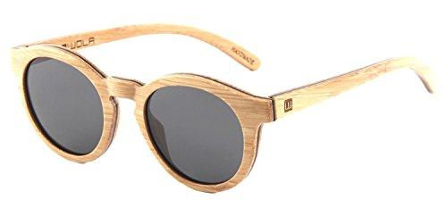 WOLA Damen Sonnenbrille Holz SELVA Brille rund polarisiert UV400 Bambus Damen M