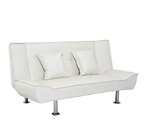 homcom Elegante Divano Letto in Ecopelle con 2 Cuscini 178 x 86 x 80cm Bianco