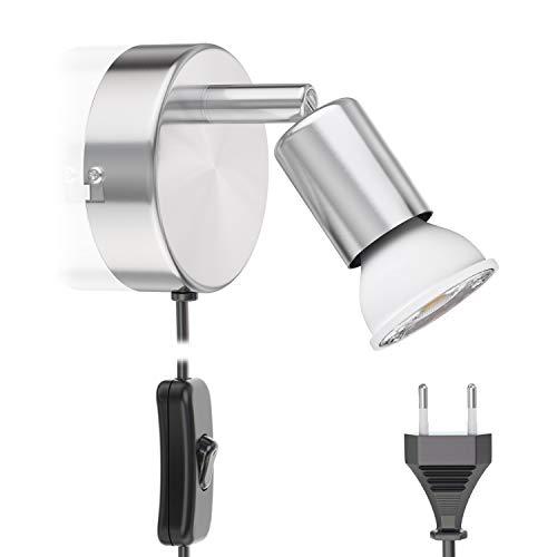 ledscom.de Leselampe LUNARA mit Schalter und Stecker Chrom matt GU10 Wand-Leuchte 6.8W =60W 420lm 30° weiß