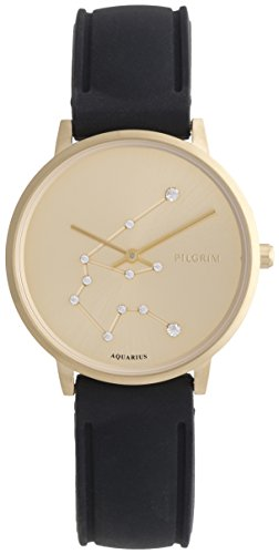 Pilgrim Damen Armbanduhr Sternzeichen Wassermann Silikon Vergoldet Schwarz