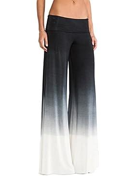 Vosujotis Mujeres De Moda Casual Gradiente Plazzo Pantalones Sueltos Pantalones De Pierna Ancha