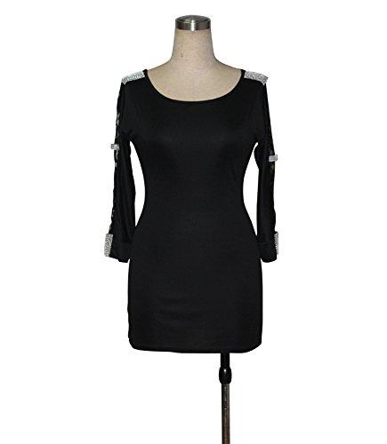 KingField - Robe - Crayon - Manches Longues - Femme Noir - Noir