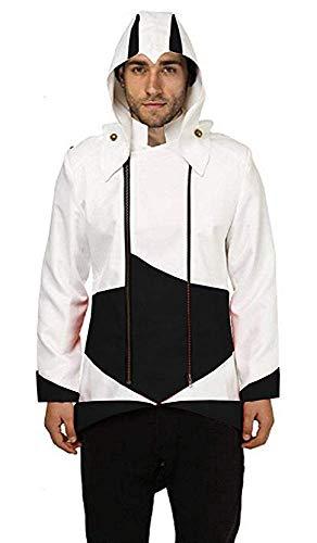Inception Pro Infinite Jacke - Mann - Glaube - Creed - Attentäter - Verkleidung - Assassin - Cosplay - Halloween - Karneval - Cosplay (Schwarz und Weiß Größe S) (Schwarze Assassinen Kostüm)