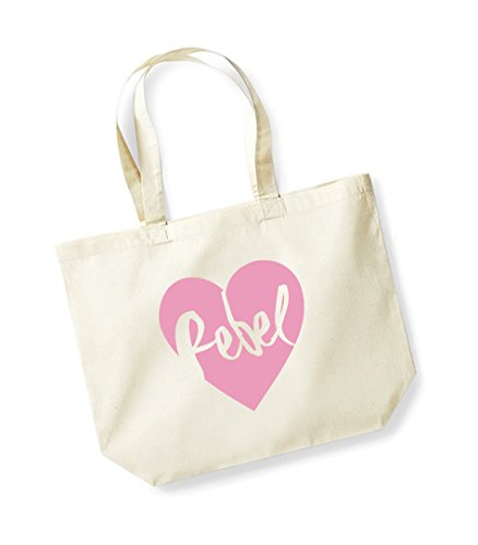 Rebel Heart - Large Canvas Fun Slogan Tote Bag Natural/Pink