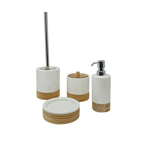 CR Produkte Hochwertiges 4 teiliges Bad Accessoires Set, Badezimmer Deko Set, Bad-Garnitur, Bad Utensilien Set aus Keramik und echtem Bambus, bestehend aus Seifen-Spender, Zahnputz-Becher mit Deckel -
