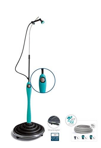 Solardusche Sunny Premium, blaue Gartendusche mit UV-beständigem Wassertank - Pooldusche mit individuell verstellbarem Duschkopf Solar Dusche Komplettset anschlussfertig
