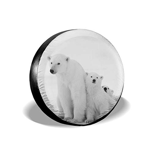 Preisvergleich Produktbild Polar Bear Family With Two Small Bear 14-17 Inch Tire Covers Tire Protection Wheel Tyre Storage Bag