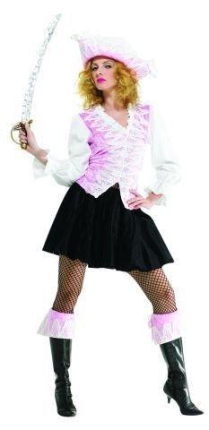 (Foxxeo 10240 | Schickes edles Kostüm Piratin Damen Pirat rosa Freibeuter Gr. M - XL, Größe:XL)