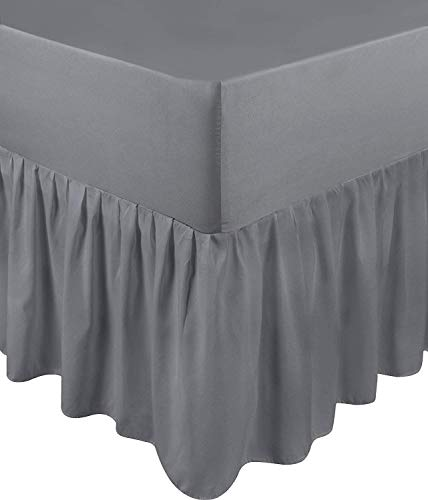 Single, Royal Blue Adams Home Pleated Base Valance Sheet Washable Dust Ruffle Hotel Quality & Abrasion Resistant. - Durable Polycotton Bed Skirt Luxuary 5 Box Pleated Bedskirt with 15 inch Drop