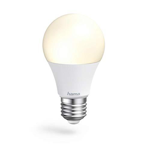 Hama E27 Wi-Fi LED-Lampe, 10W (ohne Hub, dimmbar, gesteuert via Alexa/Google Home/App/IFTTT, 2,4GHz, warm-/neutral-/tageslichtweiß) WLAN Lampe, Echo/Echo Dot/Echo Spot/Echo Plus/Echo Show kompatibel