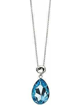 Elements Damen Halskette 925 Sterling Silber Swarovski-Kristall blau P3215