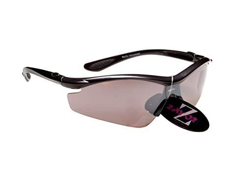 Rayzor Professionelle Leichte UV400 Schwarz Sports Wrap GOLF Sonnenbrille, Mit einem Smoked Mirrored Blend Lens. -