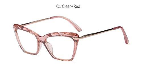 XSHY Fashion Square Brillen for Frauen Trendy Marke Sexy Cat Eye Brillen Rahmen Optical Computer Brillen (Frame Color : C1 Clear Red)