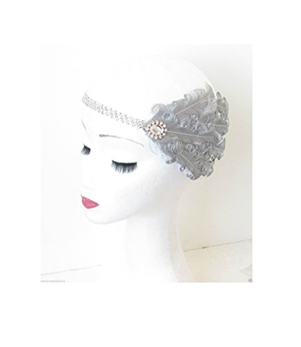 Starcrossed Beauty N30 Serre-tête avec plumes et strass argent Années 1920-30 Style Gatsby