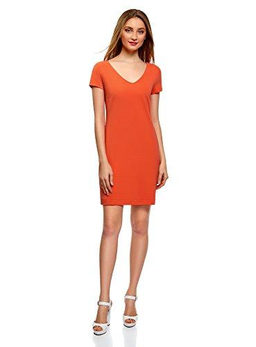oodji Collection Damen Kleid mit V-Ausschnitt und Reißverschluss, Orange, DE 40 / EU 42 / L