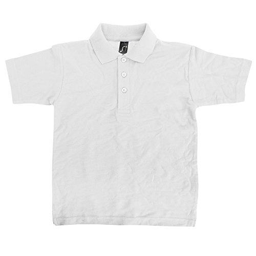SOLS - Polo Manica Corta Tinta Unita 100% Cotone - Bambino (6 anni) (Bianco)