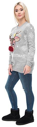 Christmas Sweater Damen Weihnachtspullover Weihnachten Pulli Xmas Einhorn Reh Bambi Rudolph Rentier rote Puschelnase Hellgrau