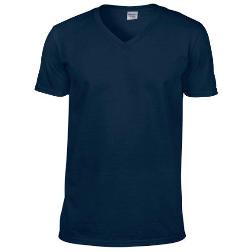 Gildan Herren Soft Style V-Neck T-Shirt Blau - Navy