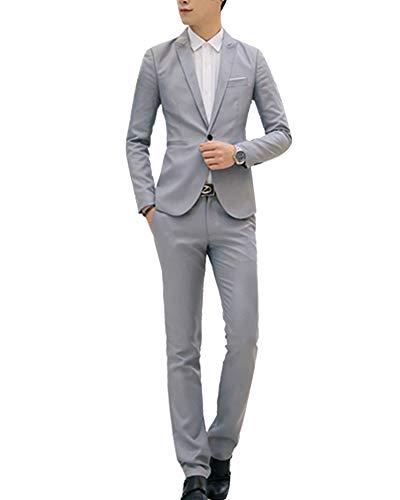 Abito completo uomo 2-pizze elegante blazer + pantaloni slim fit grigio m