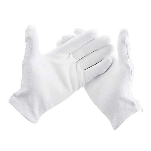 Unbekannt LM 15 Paar weiße Baumwollhandschuhe, Tuch, Servierhandschuhe für trockene Hand, Kosmetik, Schmuck, feuchtigkeitsspendend und Münzprüfung. - Weiß - 21 cm (- Schiedsrichter Halloween-frauen)