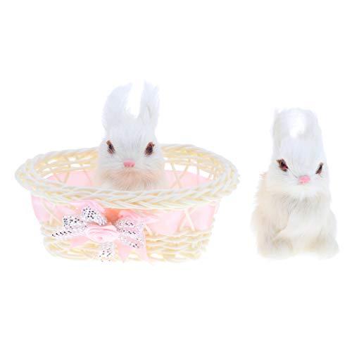MagiDeal Niedliche Kuscheltier Kaninchen Im Korb, Plüschfigur Häschen, Plüschtiere Hasen Tier Spielzeug für Kinder und Kleinkind