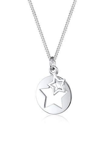 Elli Damen Echtschmuck Halskette mit Stern Cut-out Astro Trend in 925er Sterling Silber 45 cm Länge