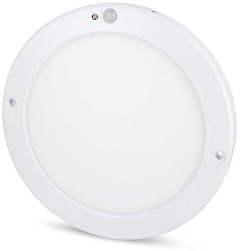 Ultraslim LED Sensor 18W Panel Deckenleuchte - mit Bewegungsmelder + Dämmerungssensor - eingebauter LED Trafo - (warmweiß (3000 K)) - Tag-nacht-licht