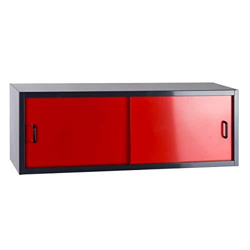 Werkstatt-Hängeschrank mit 2 Schiebetüren, BxTxH: 915x300x320 mm, schwarz/rot