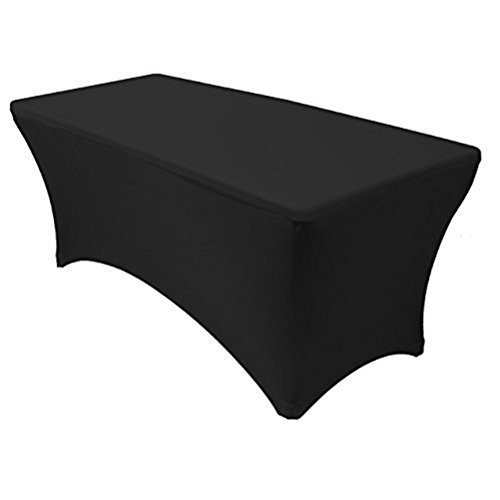 trlyc 4ft 6ft 8ft 10ft Stretch tablecloth-spandex Bettwäsche Tight, rechteckige Tisch Cover Messen Verkäufer Tischdecke für Home Hochzeiten 6FT schwarz