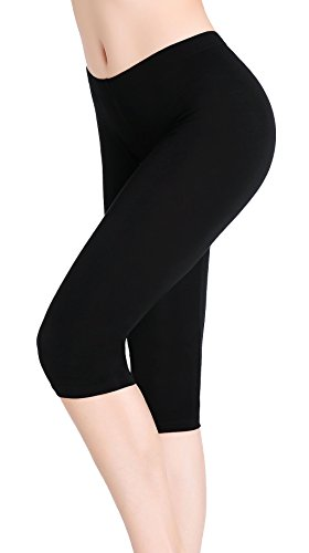 Damen Stretch Unter Rock Shorts Yoga Leicht Capri Tights Leggings Kurz Schwarz (Schwarze Leggings Xl Capri)