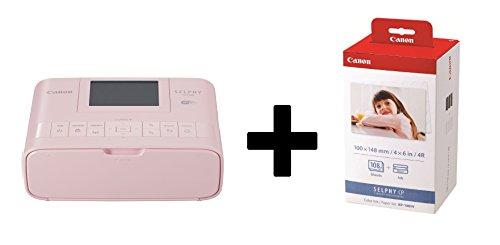 Canon SELPHY CP1300 Fotodrucker inkl. Druckpatrone/ Papiersatz für 108 Ausdrucke (Thermosublimation, USB, WLAN, LC-Display, AirPrint, Mopria, SD-Slot) (Pink)