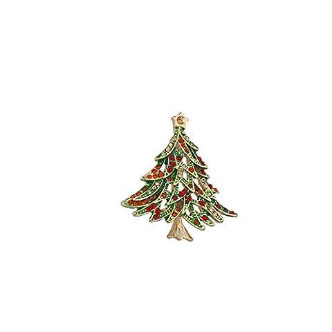 LUX Zubehör Weihnachten Urlaub goldfarbenes rot und grün Baum Brosche Pin