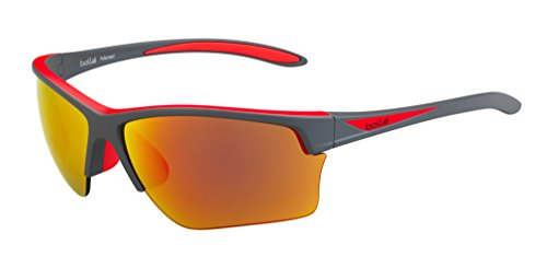 bollé Erwachsene Flash Sonnenbrille, Matte Grey/Red, Large
