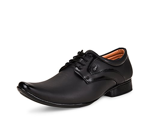 ESSENCE Men's Black Formal Synthetic Lace-Up Shoes [Size: 8]