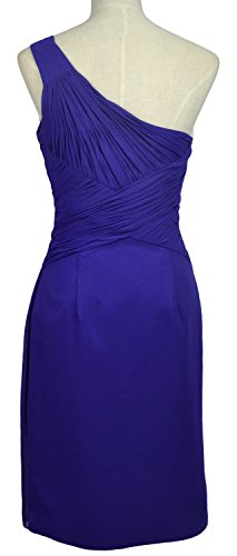 MACloth Women One Shoulder Short Draped Bridesmaid Dress Cocktail Party Gown Turquoise