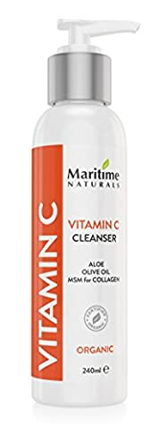 Vitamin C Facial Cleanser - Anti Aging, Breakout & Wrinkle Reducing Face Wash for Clear & Reduced Pores - With Organic & Natural Ingredients - For Oily, Dry & Sensitive Skin