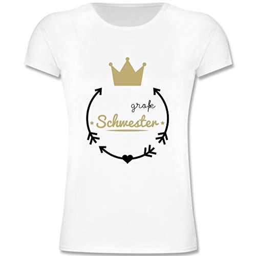 Geschwisterliebe Kind - Große Schwester - Krone - 116 (5-6 Jahre) - Weiß - F131K - Mädchen Kinder T-Shirt